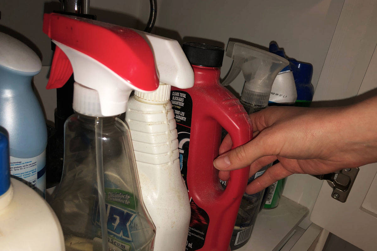 WorkSafeBC says household cleaners can be dangerous if not used correctly. (Devon Bidal/News Staff)