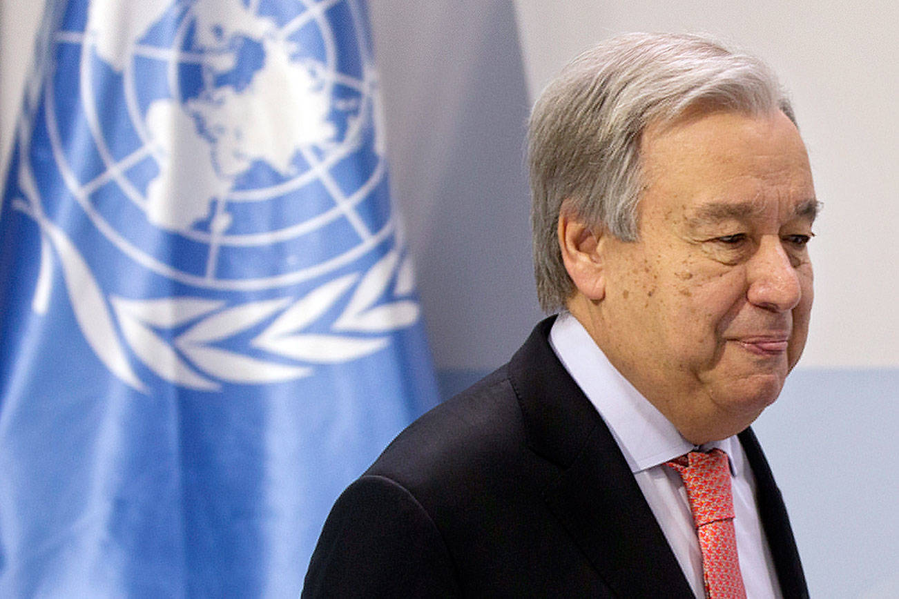 UN Secretary-General Antonio Guterres speaks during a news conference at the COP25 summit in Madrid, Spain, Sunday, Dec. 1, 2019. This year's international talks on tackling climate change were meant to be a walk in the park compared to previous instalments. But with scientists issuing dire warnings about the pace of global warming and the need to urgently cut greenhouse gas emissions, officials are under pressure to finalize the rules of the 2015 Paris accord and send a signal to anxious voters. (AP Photo/Paul White)