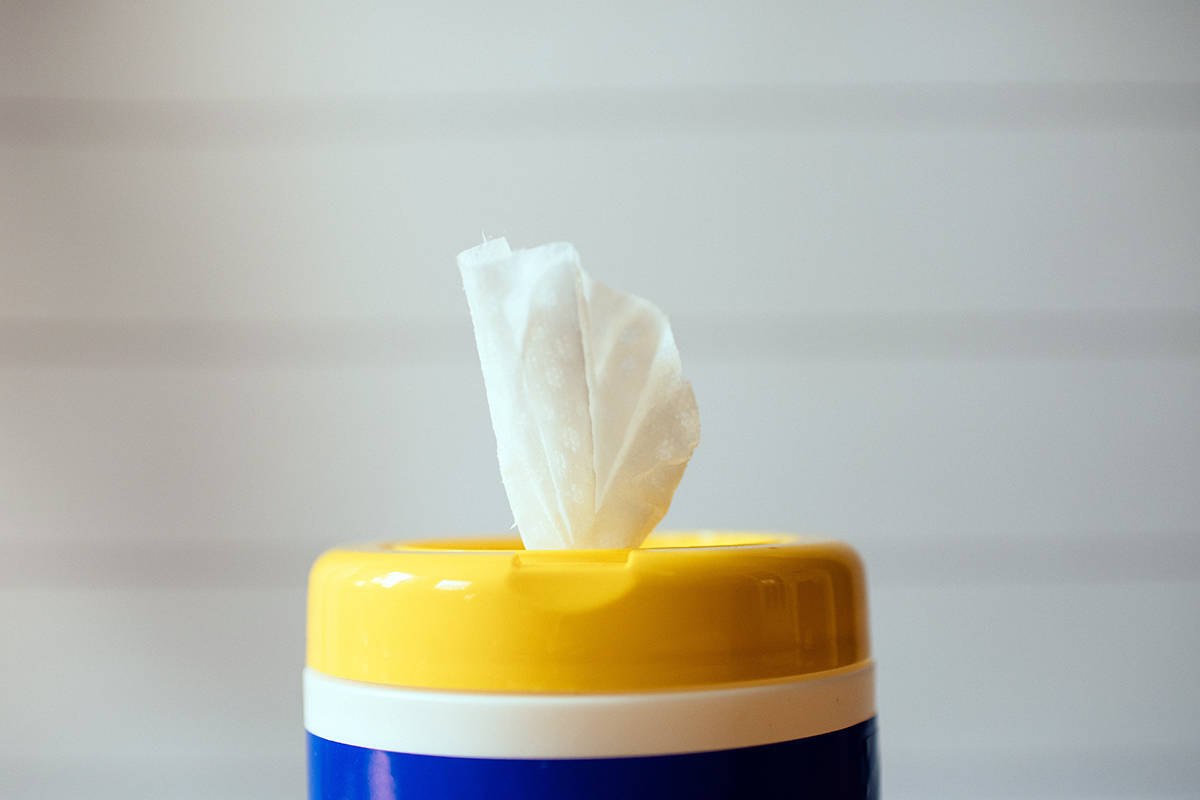 The Capital Regional District says disinfectant and disinfectant wipes, paper towels and latex gloves should not be flushed or put down the drain. (Unsplash)