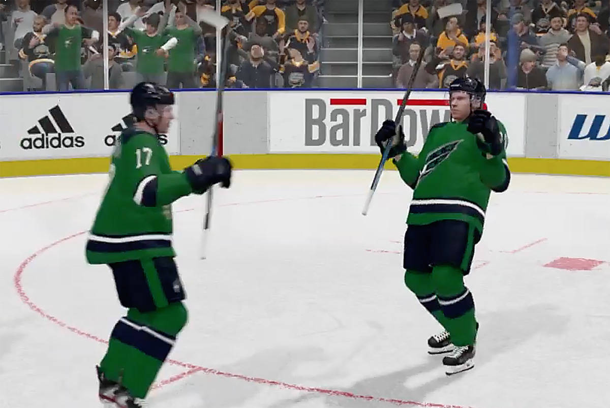 Surrey Eagles players celebrate a goal during video-game simulation of the BCHL team's second-round playoff series with Coquitlam Express. (Youtube photo)