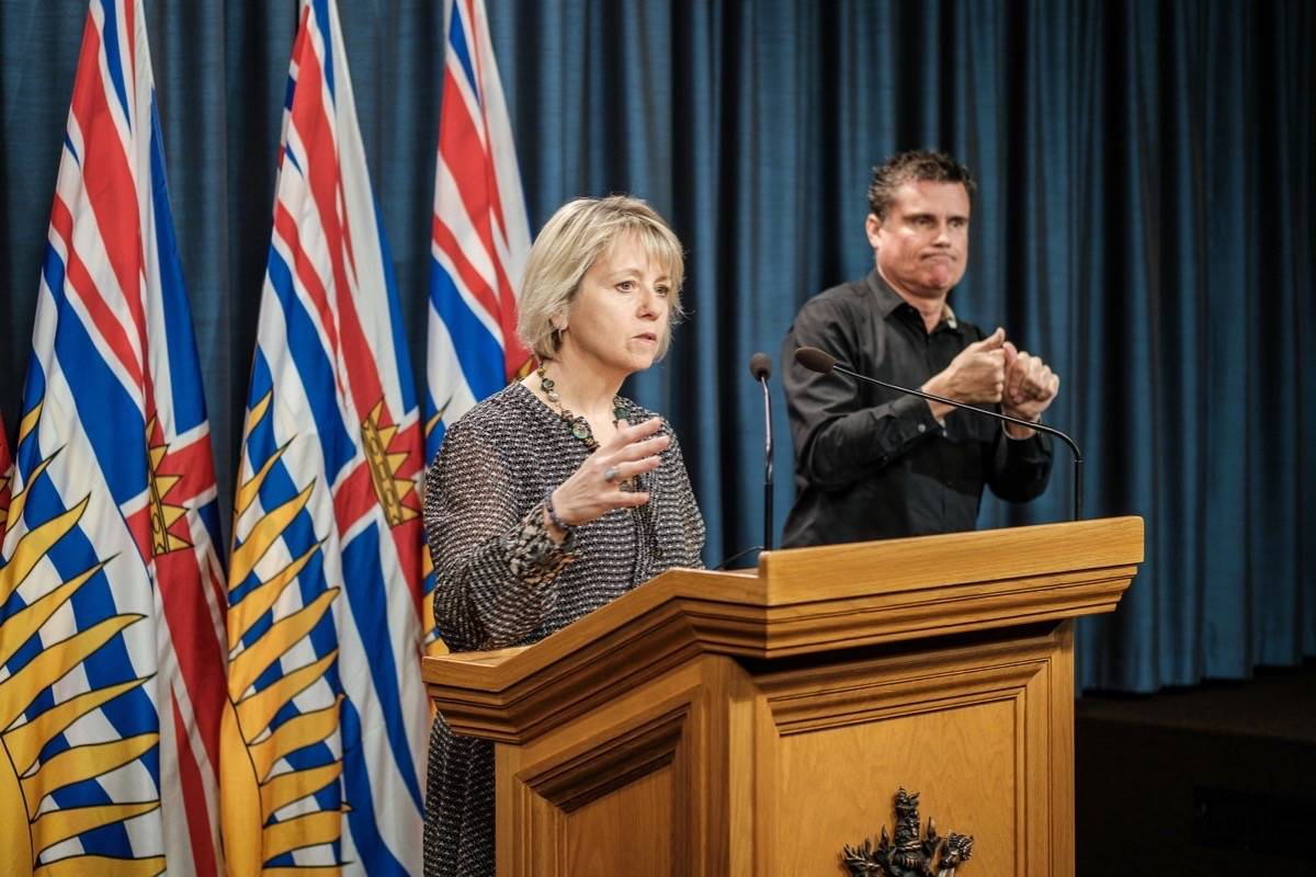 Provincial health officer Dr. Bonnie Henry gives a daily update on COVID-19 at the B.C. legislature. (B.C. government)