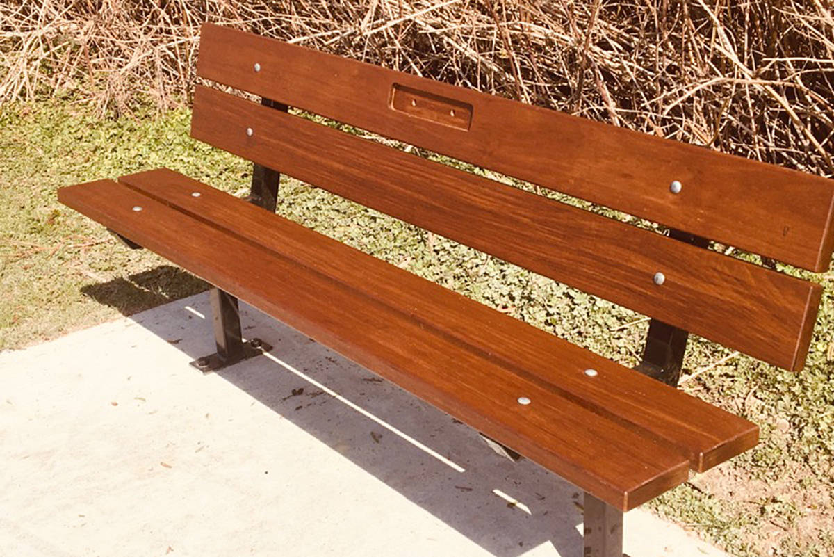 A bench has gone up for overdose victim Carson Crimeni in a Langley park (Darren Crimeni/special to Langley Advance Times)