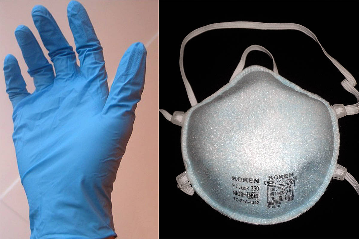 A call has gone out for donations of PPE supplies like examination gloves and N95 flyer masks (Wikimedia Commons images)