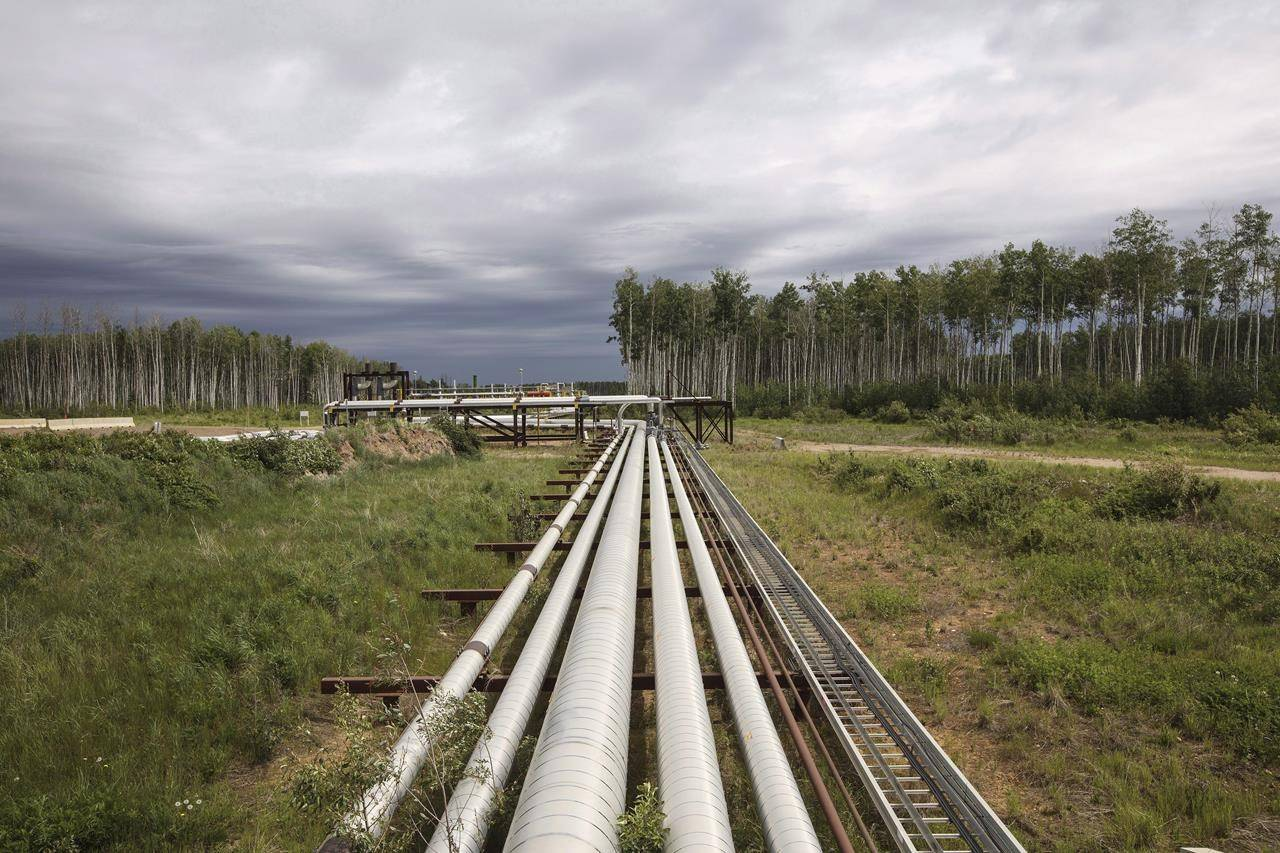 Suncor pipes that carry various liquids from their MacKay River pad in the oil sands in Fort McMurray Alta, on Monday June 12, 2017. Budget cutting in response to the twin challenges of COVID-19 demand destruction and low oil prices as Saudi Arabia and Russia fight a price war mean the world's oil and gas industry will likely spend less on renewable energy going forward. THE CANADIAN PRESS/Jason Franson