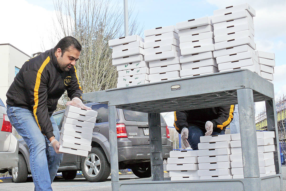 Hiten Gupta, owner of Pizza Mantra, brought 112 pizzas to Langley Memorial Hospital on Sunday, March 29th (Dan Ferguson/Langley Advance Times)