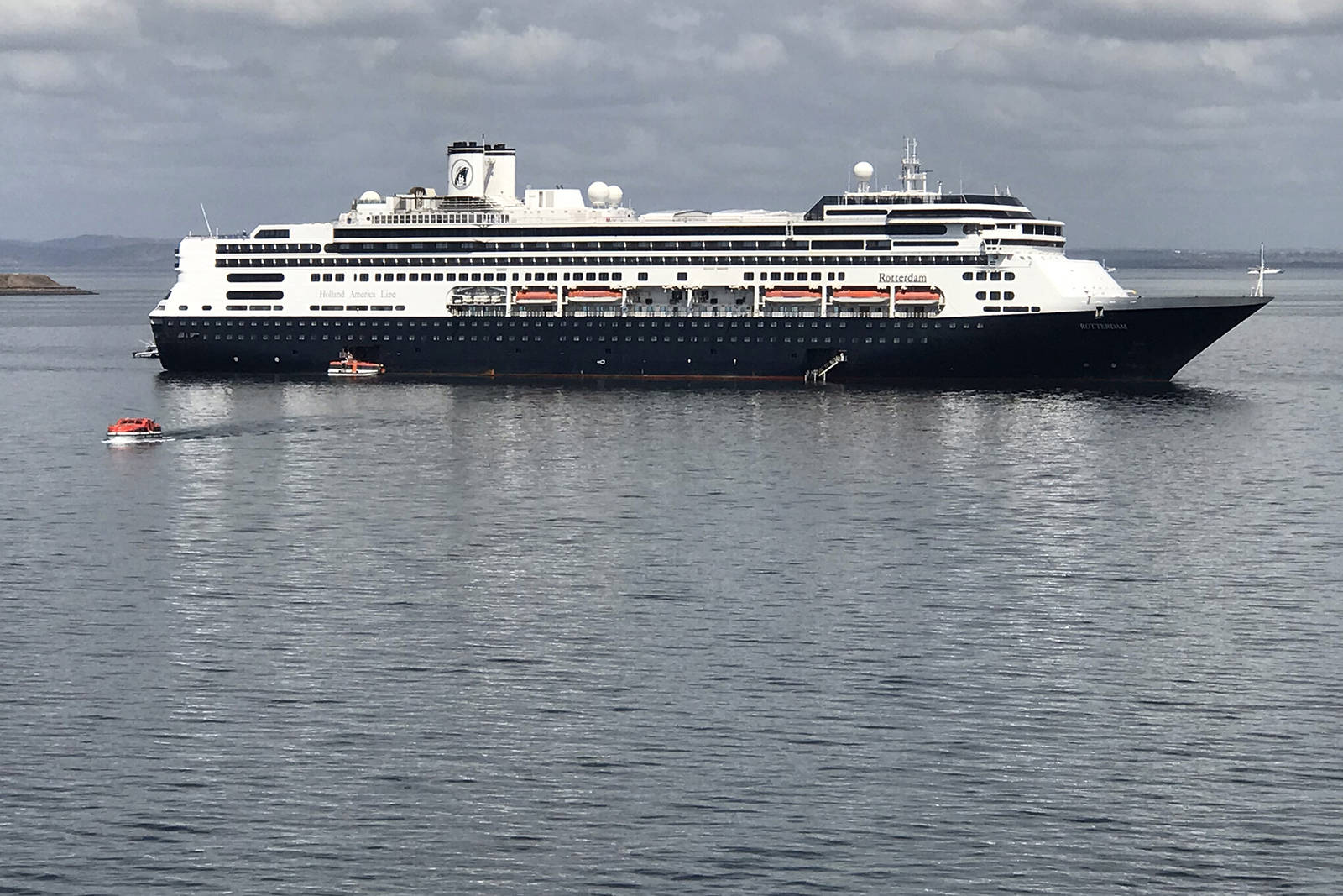 The Holland America Line cruise ship Rotterdam transferred hundreds healthy passengers aboard Saturday. (Photo: Maggie Tilley)