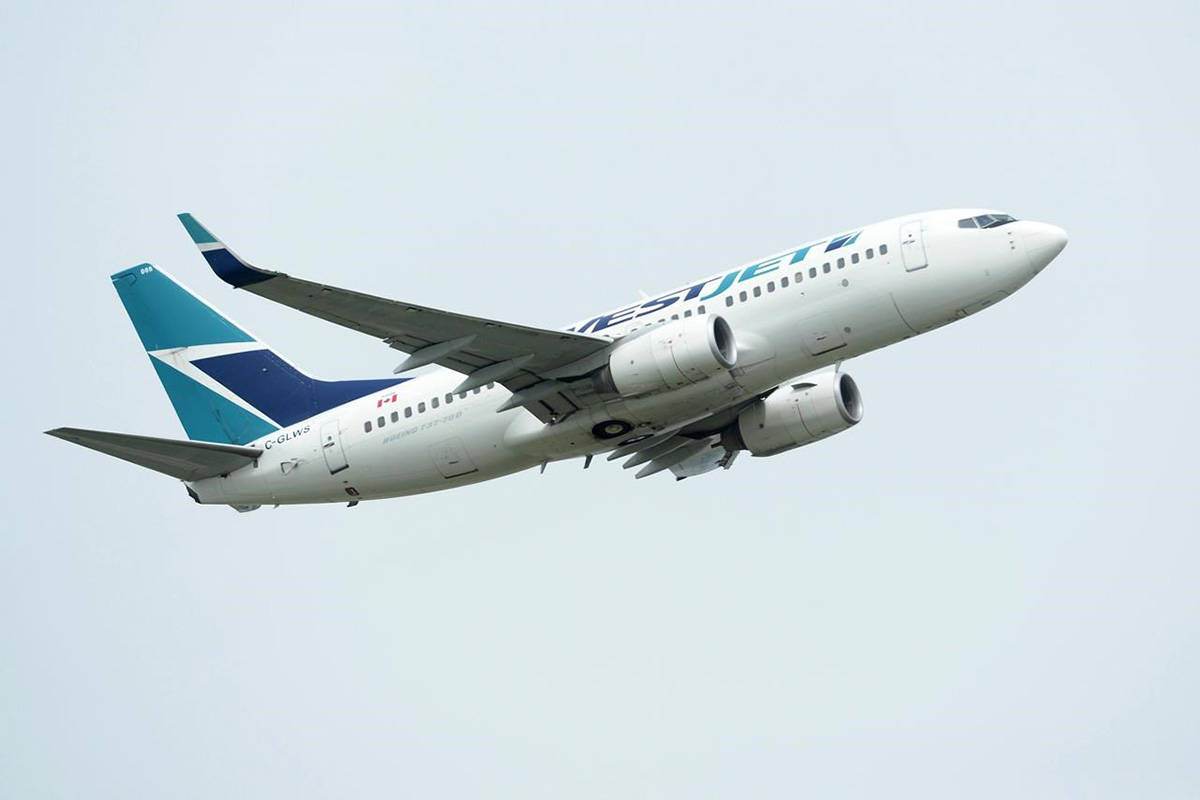 FILE – A WestJet plane takes off from Vancouver International Airport in Vancouver on Monday, May 13, 2019. THE CANADIAN PRESS/Jonathan Hayward