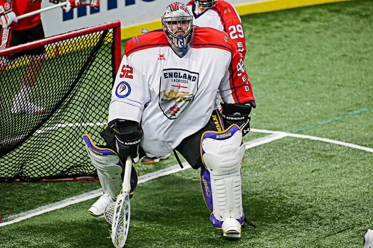 New Langley Thunder goaltender Frank Scigliano played for England at the World Lacrosse Indoor World Championship this past September at Langley Events Centre. the 2020 Western Lacrosse Association season has been delayed due to the COVID-19 outbreak (Paul Yates Langley Events Centre photo)