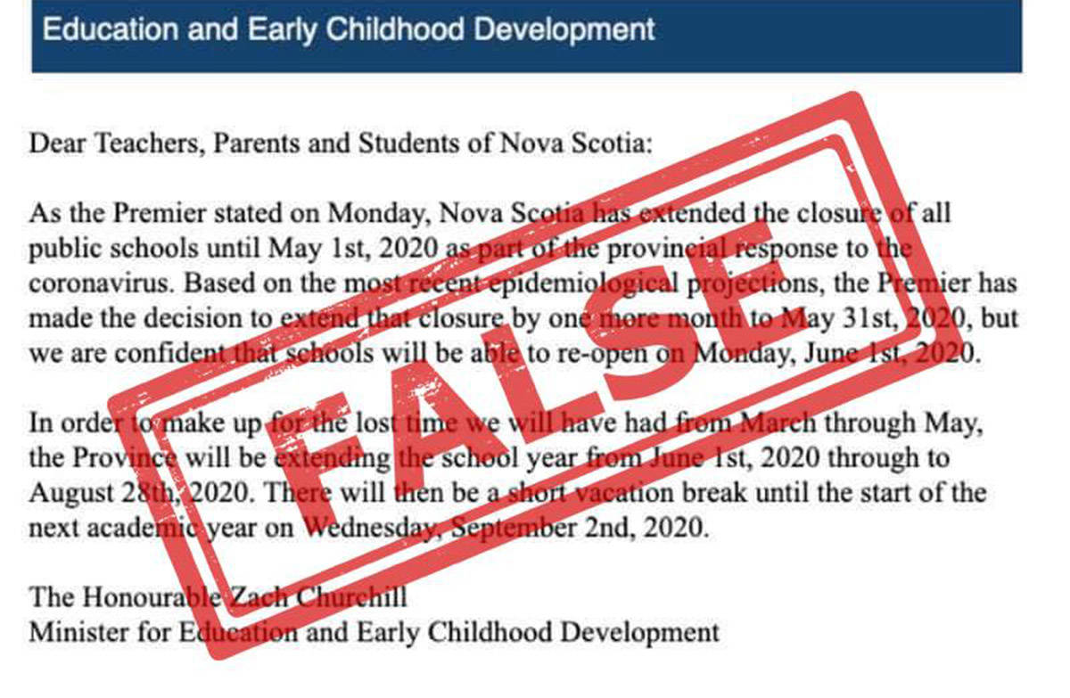 A screenshot of the fake letter sent out in Nova Scotia on April 1, 2020, which makes false claims about plans for the current school term. (Facebook photo)