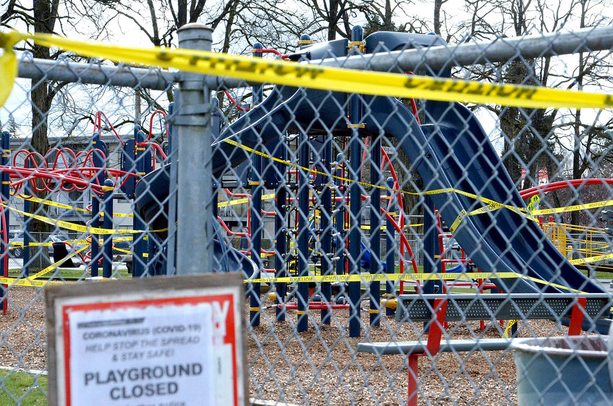 Douglas Park playground is closed to help slow spread of COVID-19. (Ryan Uytdewilligen/Langley Advance Times)