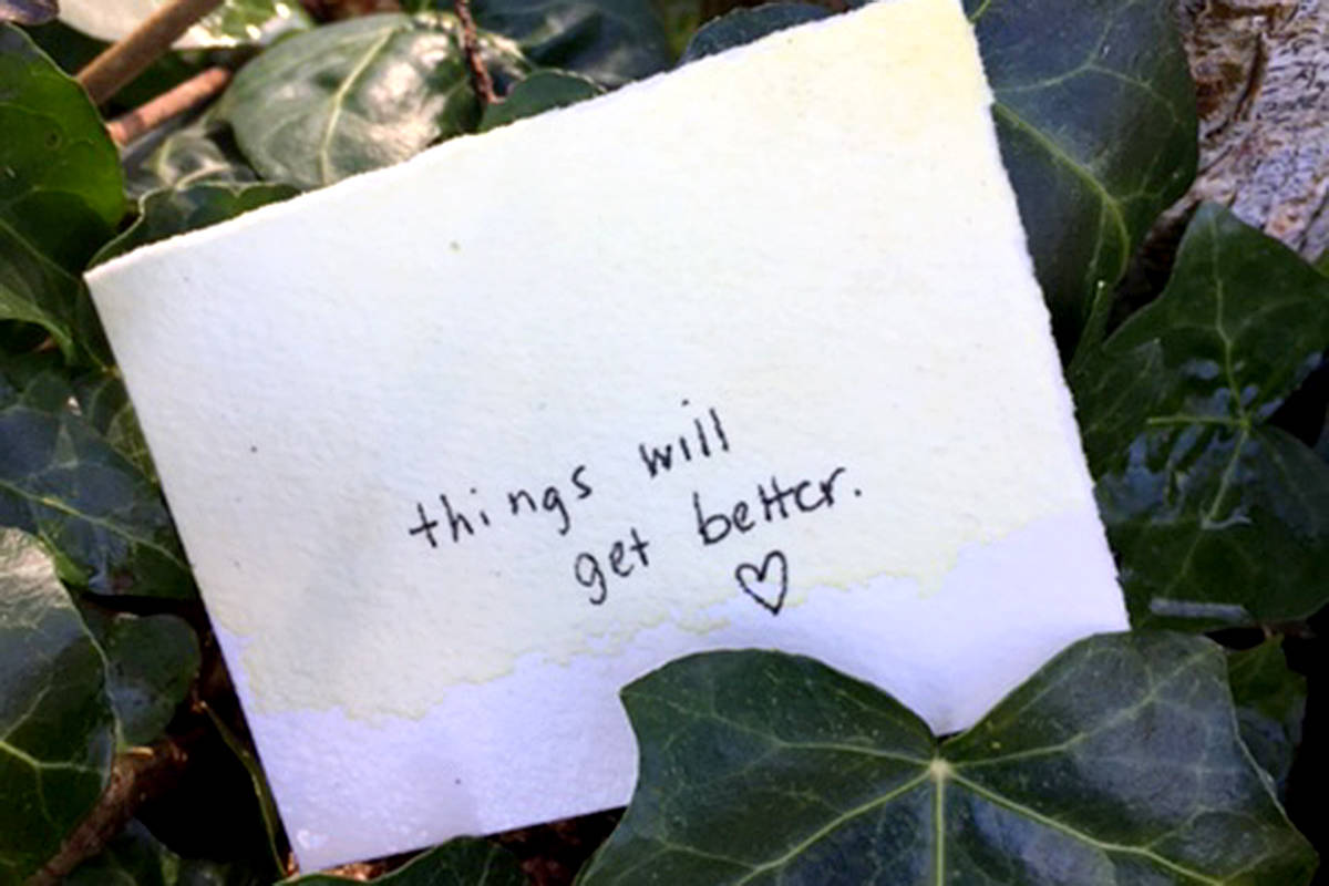 This note was found on a trail in Walnut Grove this week, moving one passerby to take a picture and share thanks. (Special to Langley Advance Times)