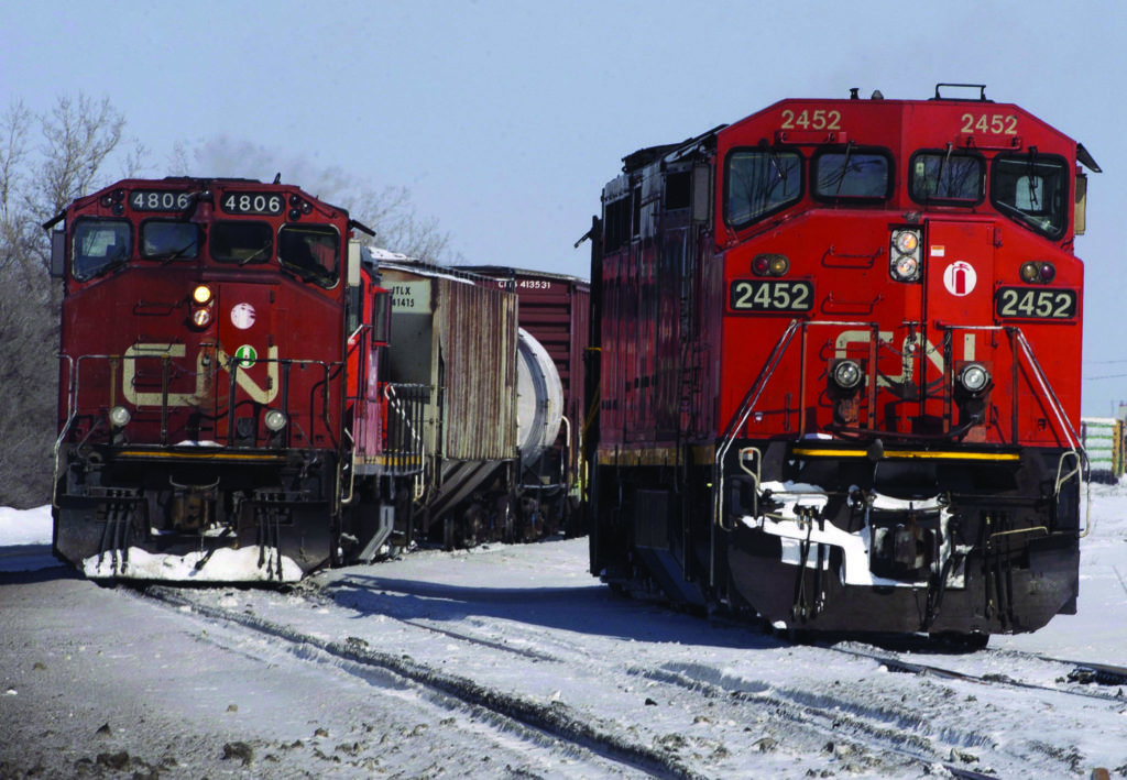 CN Rail locomotives are seen Monday, February 23, 2015 in Montreal. Canadian National Railway Co. says it has started to call back most of the 450 workers temporarily laid off last month, when blockades brought the company's eastern network to a near standstill.THE CANADIAN PRESS/Ryan Remiorz