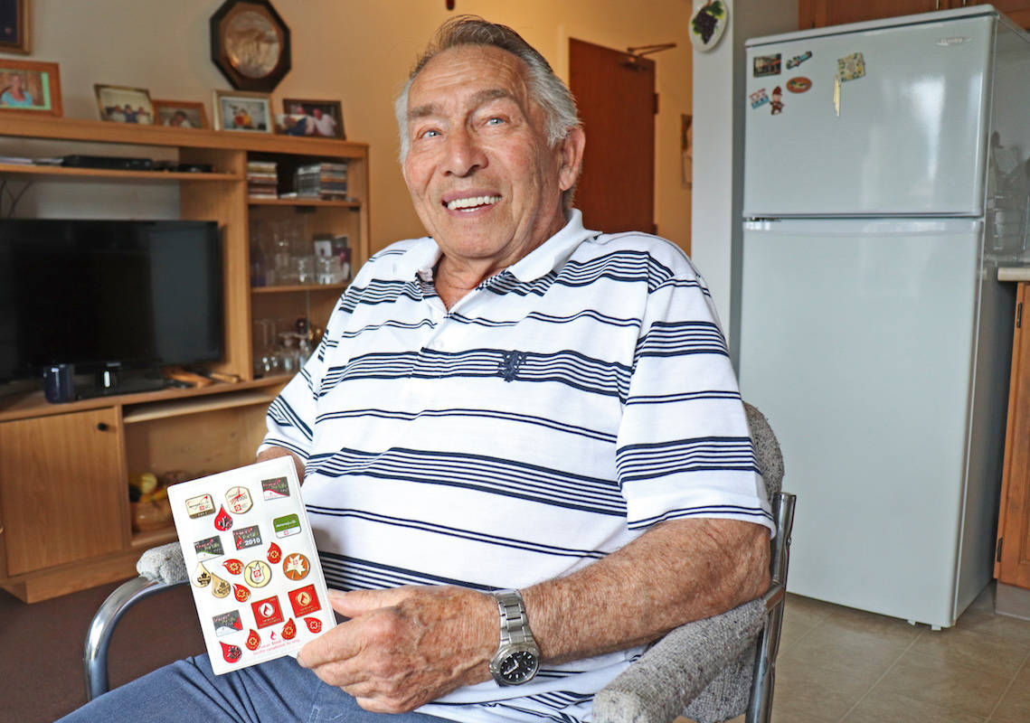 Aldergrove senior Harvey Rempel, as a blood donation tradition, collects a Canadian Blood Services pin for each of his clinic visits. (Sarah Grochowski photo)