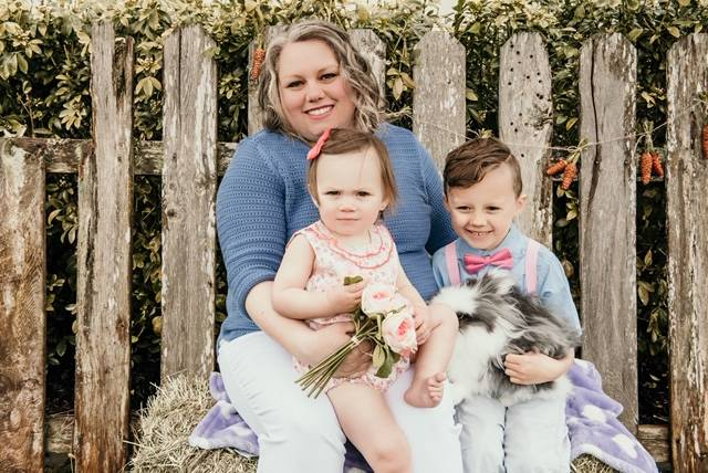 Janene Walker says she has been criticized publicly for taking her two children with her while she grocery shops during the COVID-19 pandemic, but with her husband deployed she struggles to find other options. (Photo courtesy of Janene Walker)
