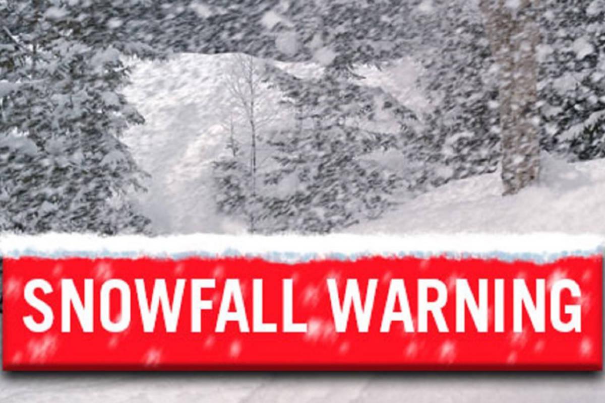 Snowfall warning issued for Coquihalla Highway