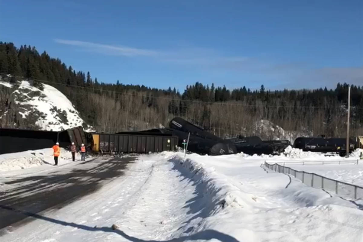 New rail safety measures are being implemented in Canada in an effort to stop derailments as seen here when a Canadian National Railway train carrying petroleum coke spilled into a creek after a 27 cars of a freight train derailed northeast of Prince George Thursday, March 4, 2020. (Jennifer Goold/Facebook)