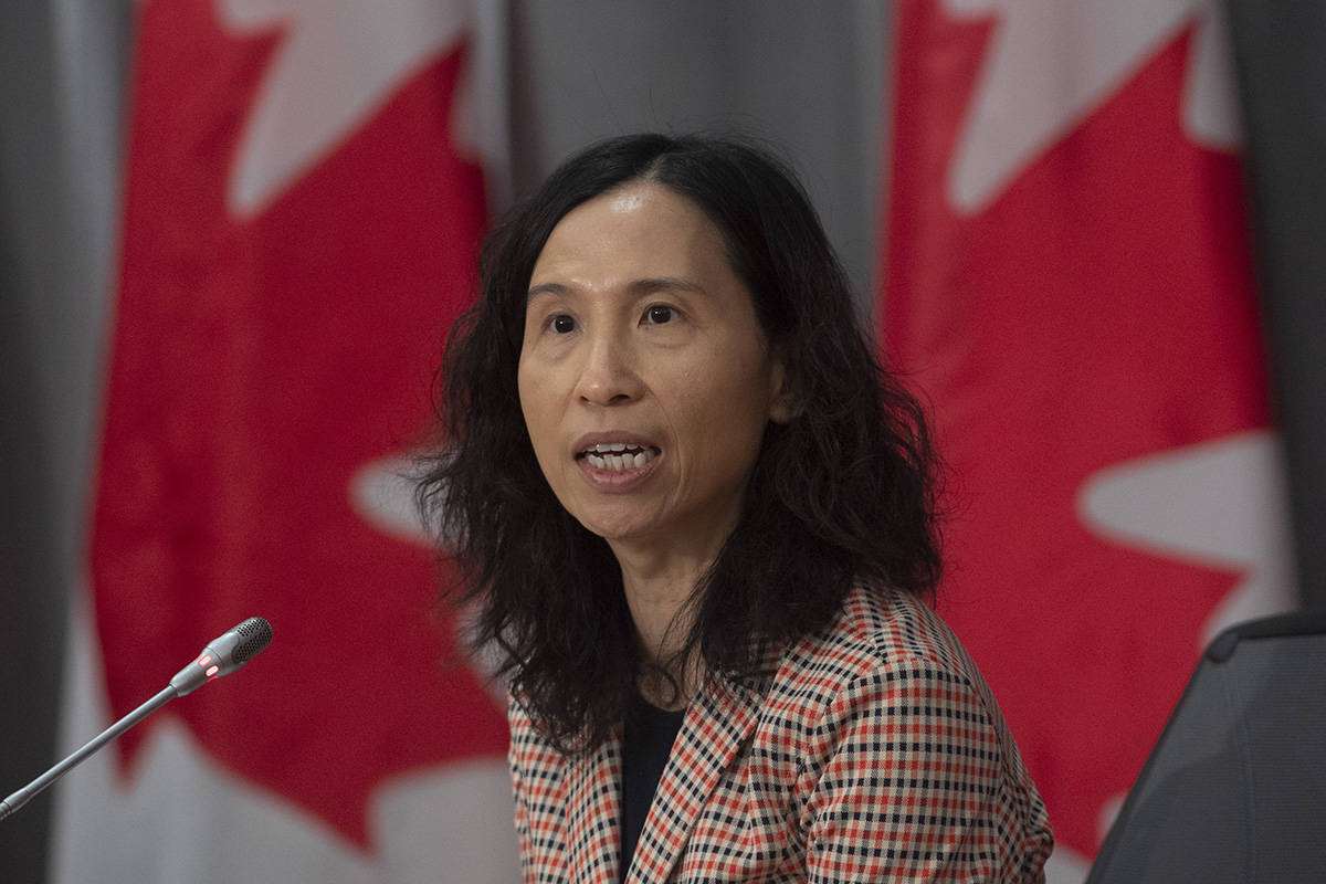 FILE – Chief Public Health Officer Theresa Tam responds to a question during a news conference in Ottawa, Wednesday April 1, 2020. THE CANADIAN PRESS/Adrian Wyld
