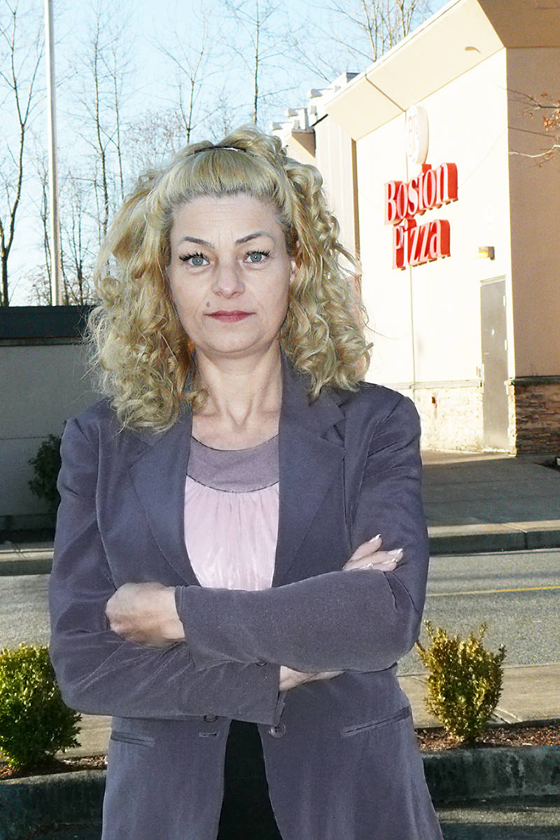 Langley small business owner Susan Kovecses said she ended up cleaning the Walnut Grove Boston Pizza for free, for six months (Dan Ferguson Langley Advance Times)