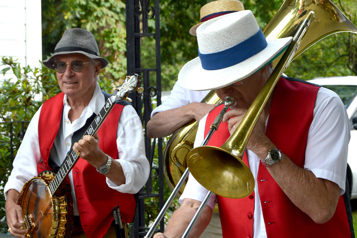 Last year, Fort Langley Jazz and Art's Festival opened with a Mardi Gras-style parade around the farmer's market. (Ryan Uytdewilligen/Langley Advance Times)
