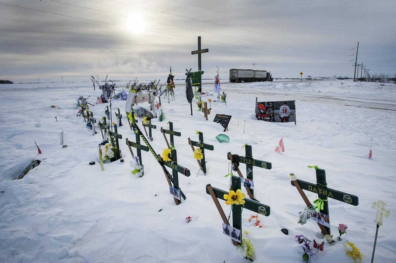 The memorial for the Humboldt Broncos hockey team at the site where sixteen people died and thirteen injured when a truck crashed into the team bus Wednesday, January 30, 2019 in Tisdale, Sask. The second anniversary of a devastating Saskatchewan bus crash will be a quiet one for the families involved because of the COVID-19 pandemic.THE CANADIAN PRESS/Ryan Remiorz