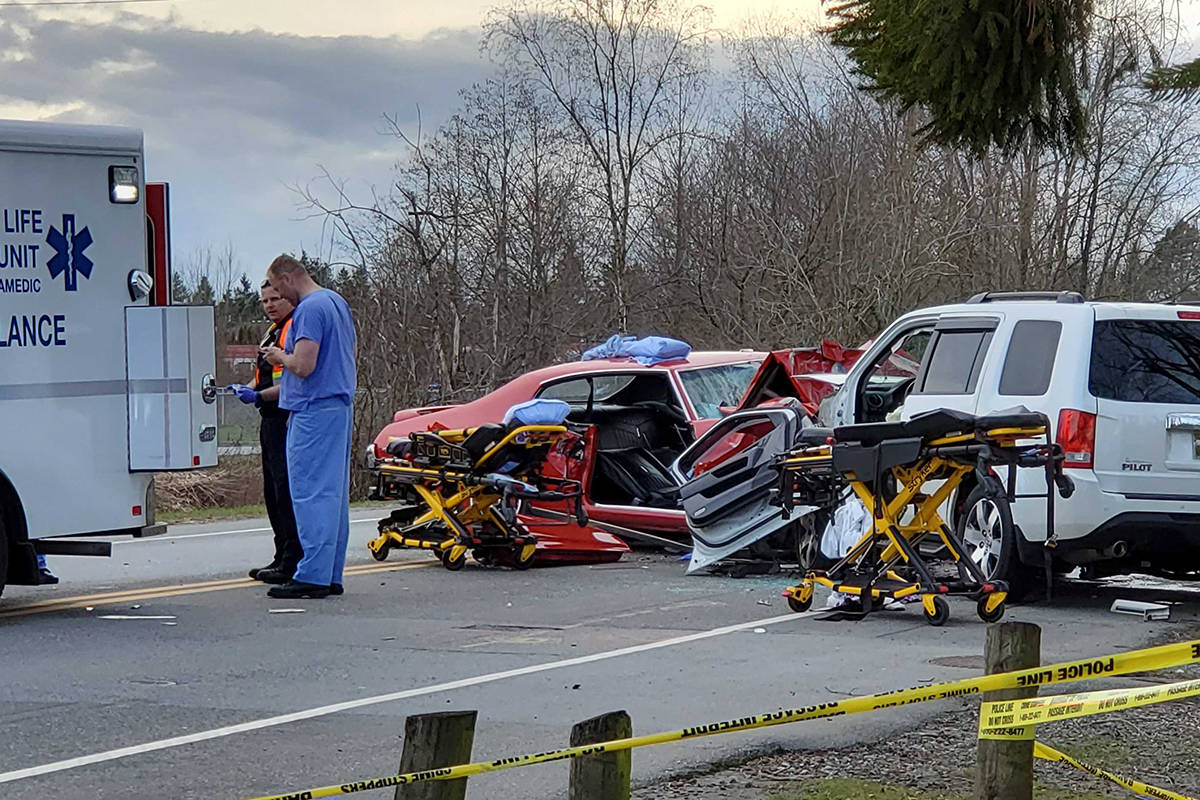 Police, fire and ambulance were called to the scene of a crash in the 21200 block of 56 Avenue near Langley airport late Sunday afternoon, March 29th. (James Smith/Black Press Media)