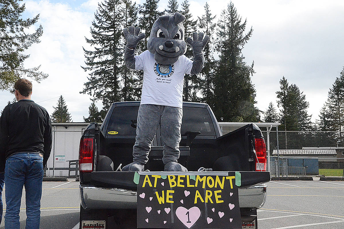 Belmont's mascot made it to the event. (Matthew Claxton/Langley Advance Times)