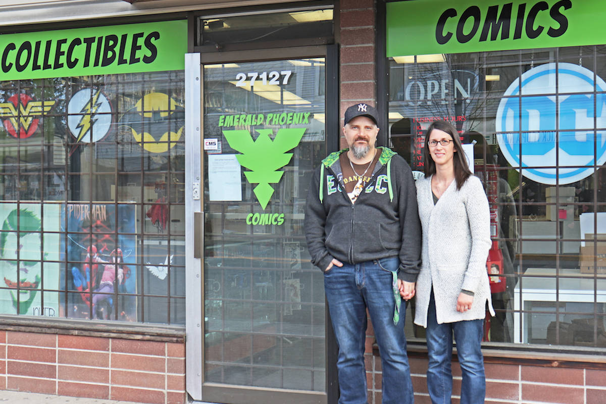 """Due to the impact of COVID-19, owners of Emerald Phoenix Comics in Aldergrove, are closing up shop – claiming Canada's federal emergency loans exclude """"truly small businesses."""" (Sarah Grochowski photo)"""