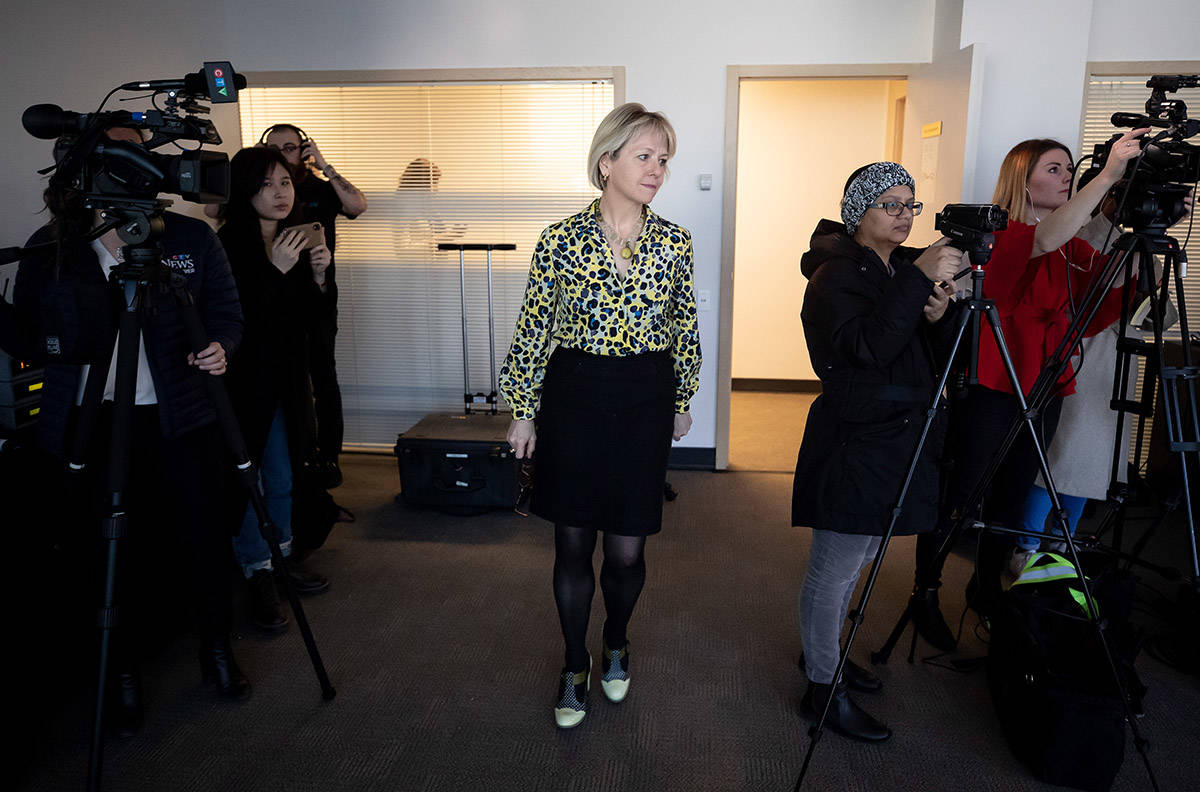 British Columbia provincial health officer Dr. Bonnie Henry arrives for a news conference regarding the novel coronavirus COVID-19, in Vancouver, on Saturday, March 14, 2020. THE CANADIAN PRESS/Darryl Dyck