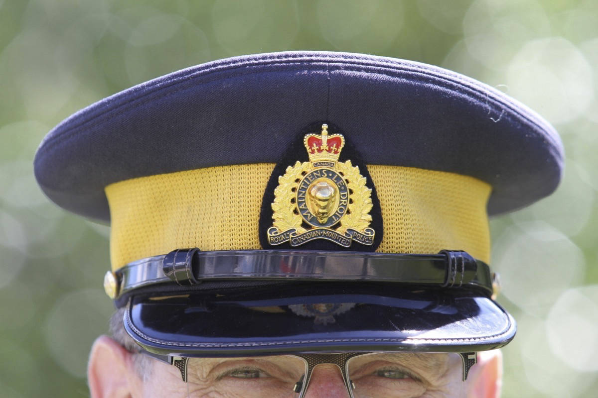 RCMP officer in uniform hat. (Photo by Jeff Stokoe/Advocate staff)