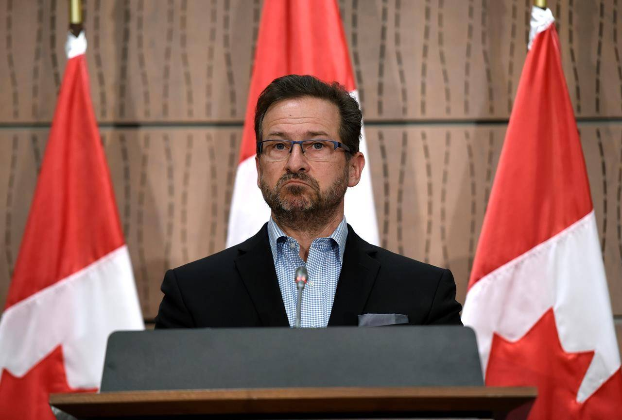 Bloc Quebecois leader Yves-Francois Blanchet speaks during a press conference on the federal government's response to COVID-19, in West Block on Parliament Hill in Ottawa, on Saturday, April 11, 2020. THE CANADIAN PRESS/Justin Tang