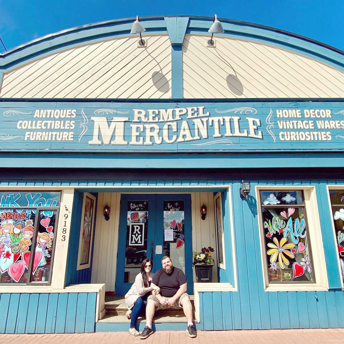 Katie and Jonathan Rempel of Rempel Mercantile started a trend when they decorated their Fort Langley store with encouraging messages (Facebook image)