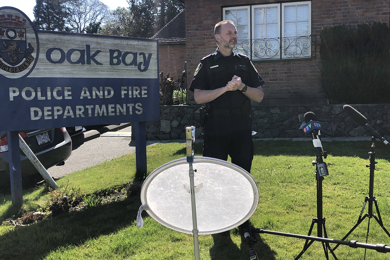 Deputy Chief Ray Bernoties of the Oak Bay Police speaks to media regarding a stolen yacht from Oak Bay Marina on Monday, April 13. The suspect claimed to be infected with COVID-19, carried a knife, and was unwilling to cooperate. (Travis Paterson/News Staff)