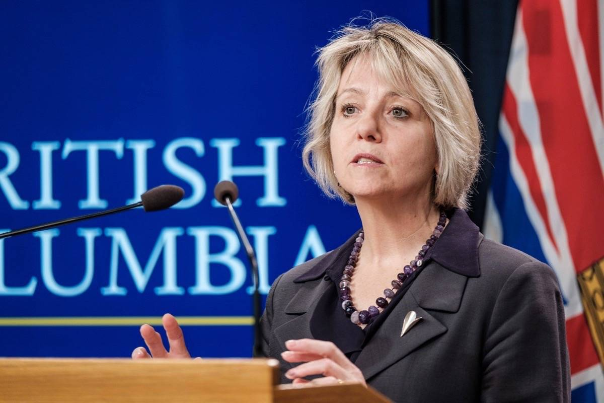 Provincial Health Officer Dr. Bonnie Henry takes questions at a briefing on coronavirus protection measures at the B.C. legislature, March 17, 2020. (B.C. government)