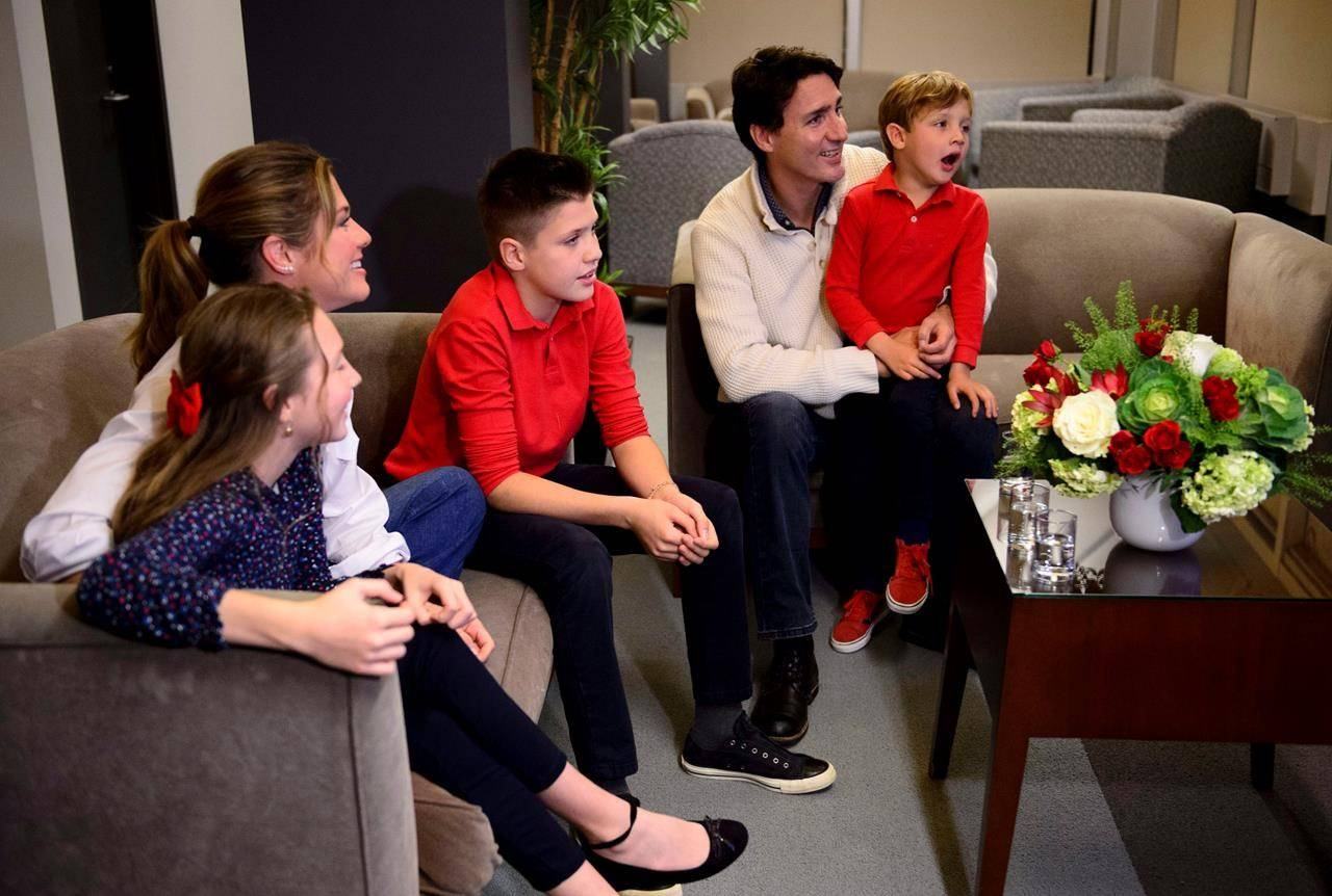 Justin Trudeau and wife Sophie Gregoire-Trudeau, and children Xavier, Ella-Grace and Hadrien (right) watch election results in Montreal on Monday, Oct. 21, 2019. Both Prime Minister Trudeau and Conservative Leader Andrew Scheer are fighting off criticism they're asking Canadians to do more to stop the spread of COVID-19 than they're willing to do themselves.THE CANADIAN PRESS/Sean Kilpatrick