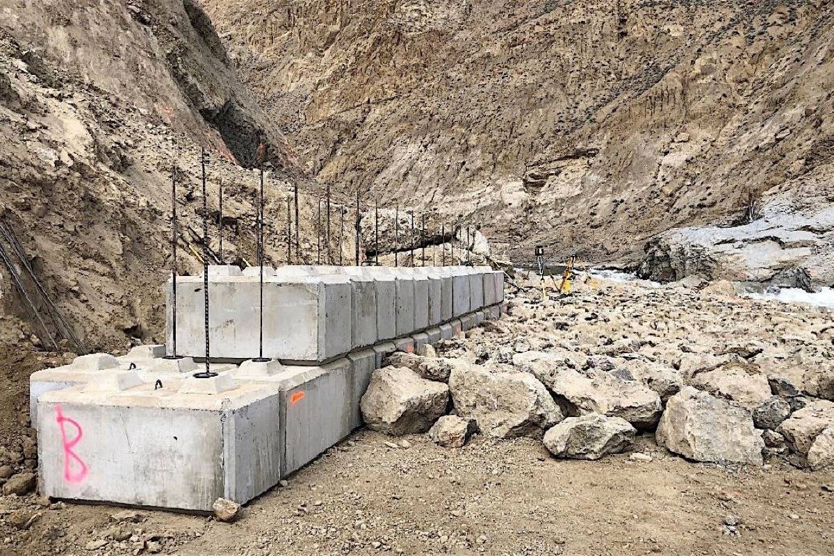Fish ladder using nearly 500 concrete blocks under construction April 9, 2020, leading to pond and pumping station to lift salmon over the obstacle created by the June 2019 Big Bar landslide in the Fraser Canyon. (Fisheries and Oceans Canada)