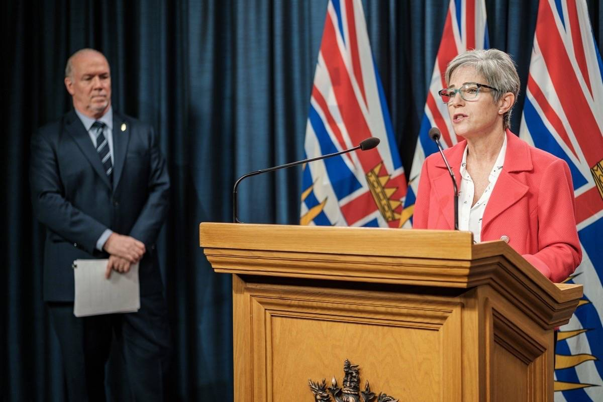 B.C. Housing Minister Selina Robinson and Premier John Horgan announce rent supplement paid to eligible landlords for COVID-19 relief, March 25, 2020. (B.C. government)