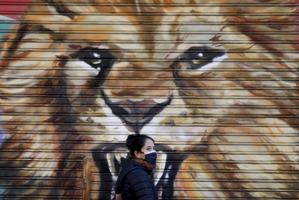 A mural decorates a closed store, where a pedestrian using a face mask walks by in Buenos Aires, Argentina, Wednesday, April 15, 2020. The use of face masks became mandatory in the capital starting Wednesday, to help contain the spread of the new coronavirus. (AP Photo/Natacha Pisarenko)
