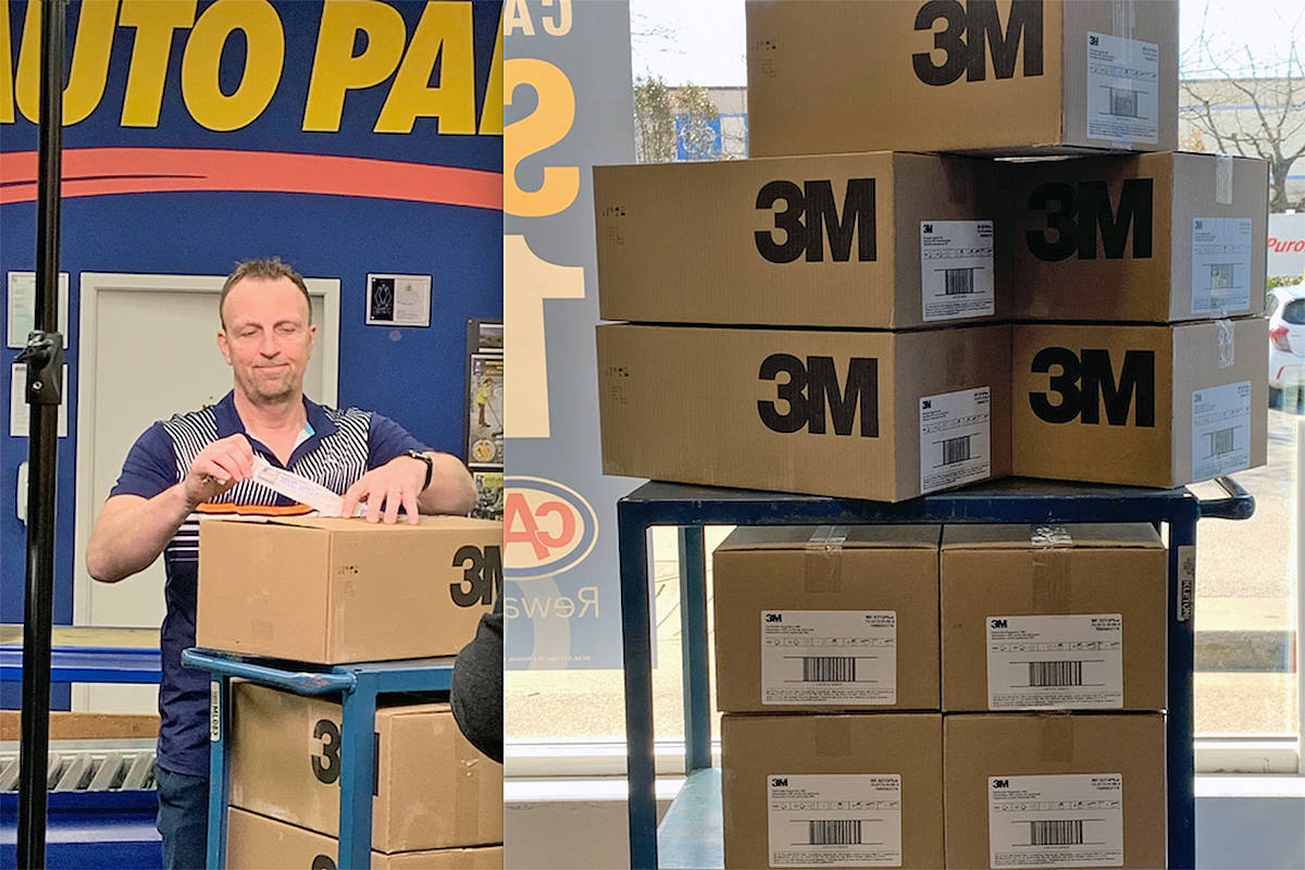 NAPA general operations manager Greg Phoenix prepares to send a shipment of much-needed masks to Operation Protect (NAPA/special to Langley Advance Times)