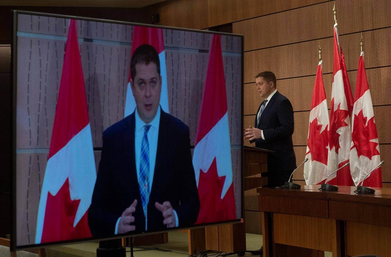 Leader of the Opposition Andrew Scheer speaks during a news conference in Ottawa, Tuesday April 14, 2020. Scheer says he has serious concerns about the accuracy of the World Health Organization's data and its relationship with China. THE CANADIAN PRESS/Adrian Wyld