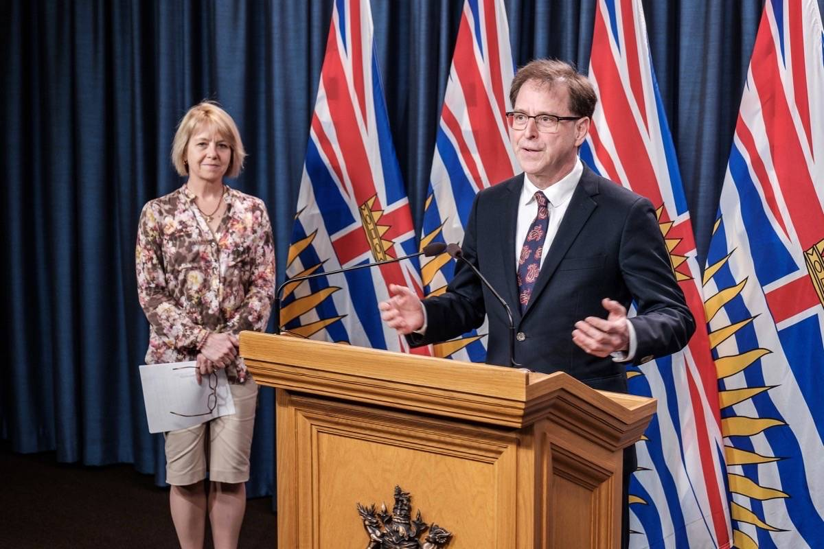 Provincial health officer Dr. Bonnie Henry and Health Minister Adrian Dix update B.C. on the COVID-19 situation, April 14, 2020. (B.C. government)