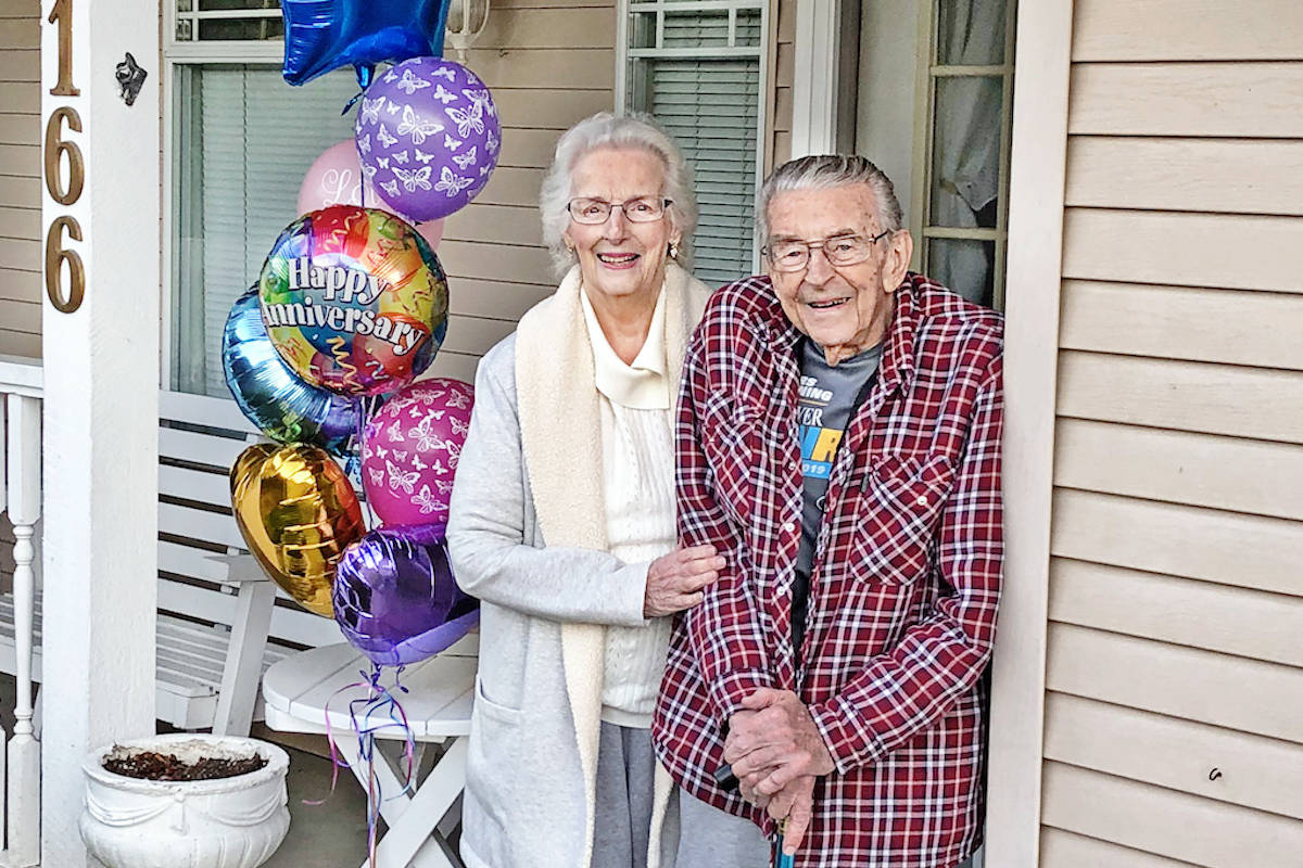 Long-time Aldergrove residents Leona and Vic Spooner got to celebrate their 71st wedding anniversary together April 9, triumphing over recent challenges including a heart attack and a pandemic that's kept them in isolation. (Carolyn Holt photo)