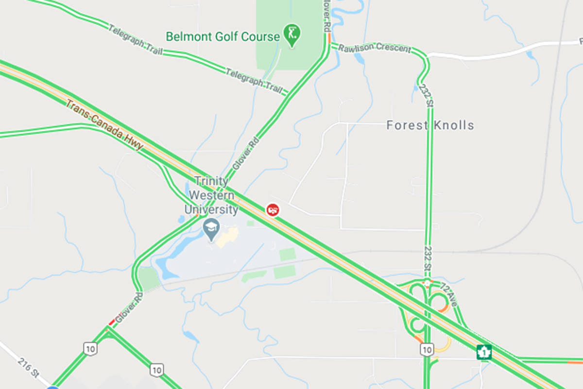Drive with caution as crews make their way to a vehicle incident westbound on Trans Canada Highway, west of 232nd Street in Langley. (Google)