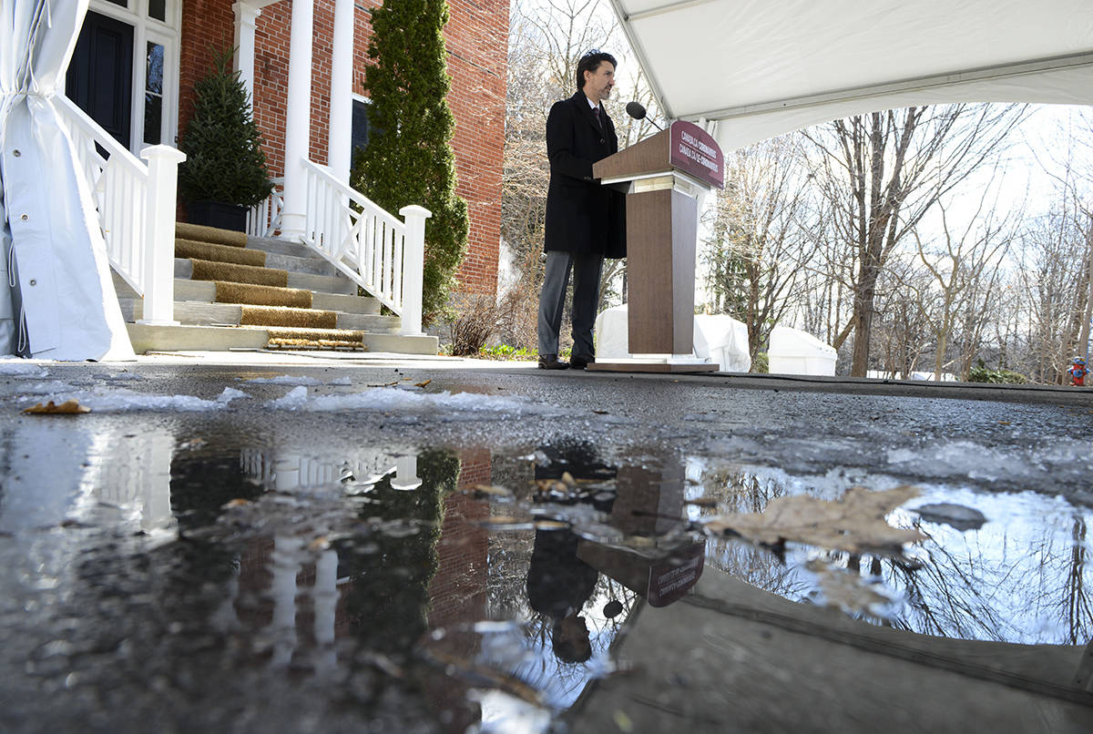 Prime Minister Justin Trudeau addresses Canadians on the COVID-19 pandemic from Rideau Cottage in Ottawa on Wednesday, April 15, 2020. THE CANADIAN PRESS/Sean Kilpatrick