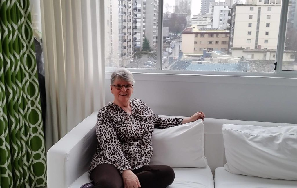 Sylvie Anderson, 72, poses in this undated handout photo. Sylvie Anderson, 72, says she didn't know what a podcast was before learning how to record them and stay connected during the pandemic as part of a senior's centre project in Vancouver. (Ying Xiao photo)
