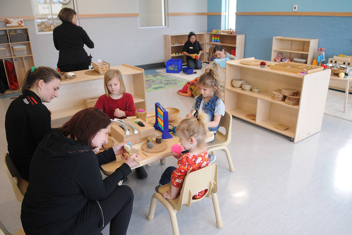The Y Play child-minding area at the Chilliwack YMCA in 2019. The YMCA of Greater Vancouver launched its Essential Child Care program as of April 1. (Jenna Hauck/ Black Press file)