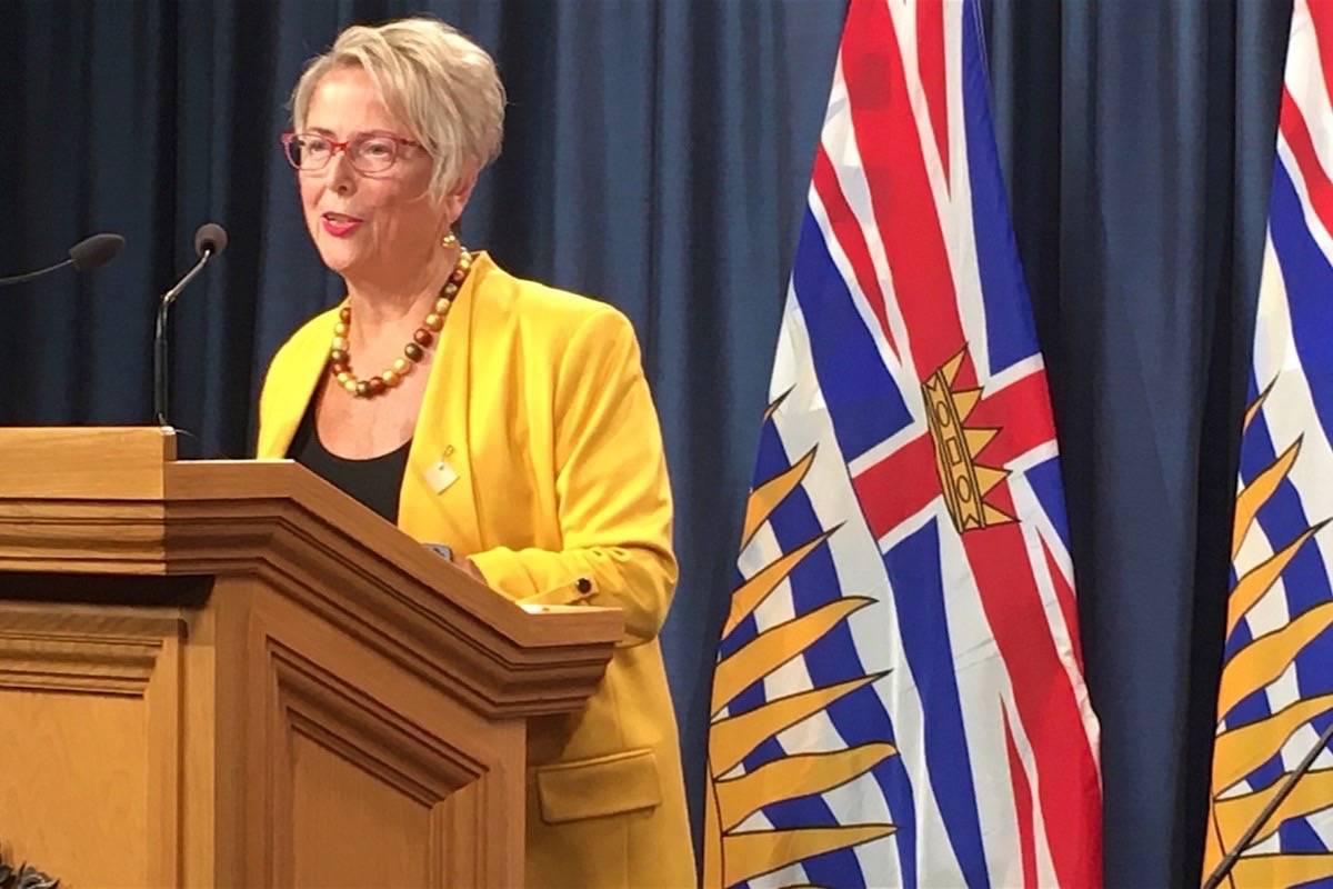 B.C. Mental Health and Addictions Minister Judy Darcy speaks to reporters at the B.C. legislature, Feb. 24, 2020. (Tom Fletcher/Black Press)