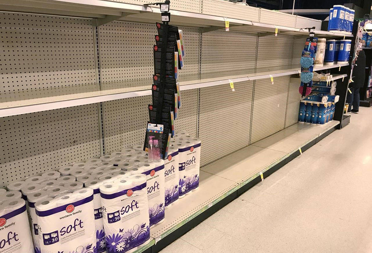 Near empty toilet paper shelves are pictured at a grocery store in North Vancouver, B.C. on March 14, 2020. The Forest Products Association of Canada says the demand for toilet paper has skyrocketed during the COVID-19 pandemic. Association president Derek Nighbor says demand has shot up by 241 per cent. THE CANADIAN PRESS/Jonathan Hayward