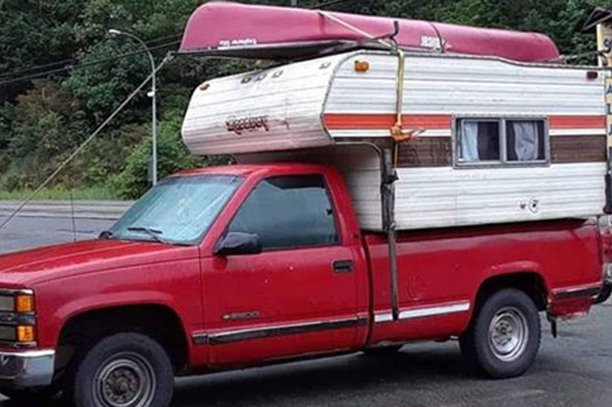A photo shared by family to Facebook of April Parisian's truck and camper.