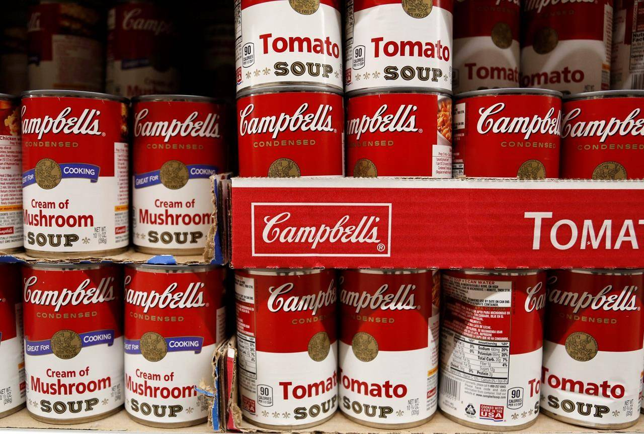 FILE – In this May 22, 2017, photo, cans of Campbell's soup are displayed at a supermarket in Englewood, N.J. (AP Photo/Seth Wenig)