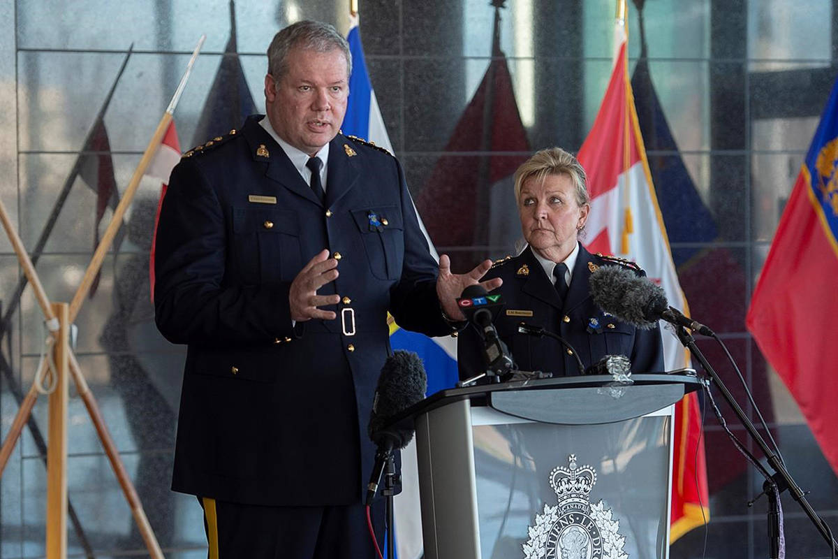 RCMP Chief Superintendent Chris Leather, left, and Assistant Commissioner Lee Bergerman field questions a news conference at RCMP headquarters in Dartmouth, N.S. on Sunday, April 19, 2020. More than ten people have been killed, including RCMP Cst. Heidi Stevenson, after several incidents in Portapique, and other Nova Scotia communities. THE CANADIAN PRESS/Andrew Vaughan